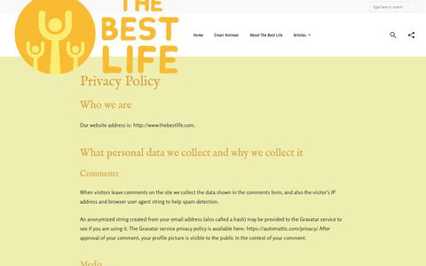 Screenshot of Privacy Page thebestlife.com - Privacy Policy - The Best Life Blog - captured Nov. 13, 2018
