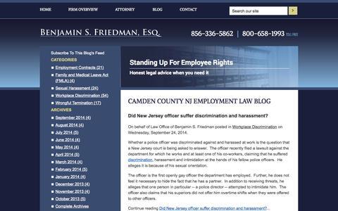 Screenshot of Blog benfriedmanlaw.com - Camden County NJ Employment Law Blog | Law Office of Benjamin S. Friedman - captured Oct. 2, 2014