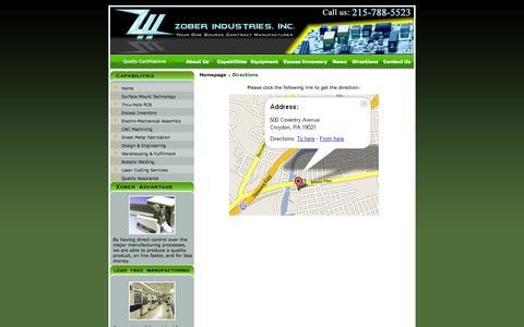 Screenshot of Maps & Directions Page zober.com - Zober Industries - captured Oct. 26, 2014