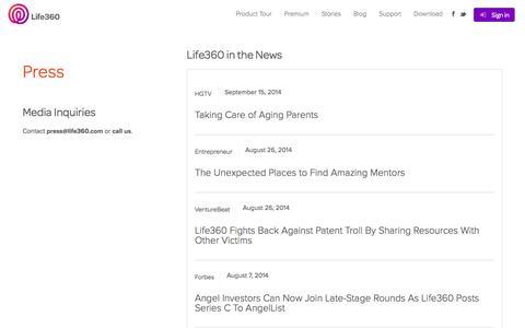Screenshot of Press Page life360.com - Press   Life360 - The New Family Circle - captured Sept. 16, 2014