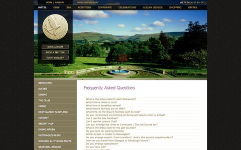 Screenshot of FAQ Page gleneagles.com - Gleneagles FAQ - Gleneagles - captured Sept. 19, 2014