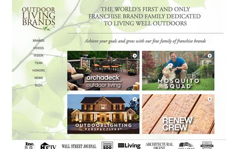 Screenshot of Home Page outdoorlivingbrands.com - Outdoor Living Brands Franchise Opportunities - captured Feb. 17, 2016