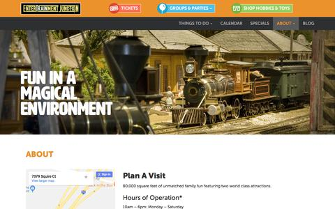 Screenshot of About Page entertrainmentjunction.com - Train Dispaly, Family Entertainment Center | Entertrainment Junction - captured July 13, 2018