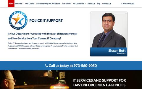 Screenshot of Home Page policeitsupport.org - Computer IT Support & Managed IT Services for Law Enforcement Agencies in New Jersey | Police IT Support - captured Sept. 30, 2014