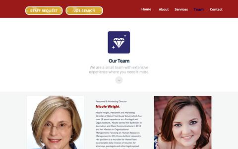 Screenshot of Team Page homefrontlegal.com - Our Experienced Legal Staffing Team - captured Sept. 29, 2018