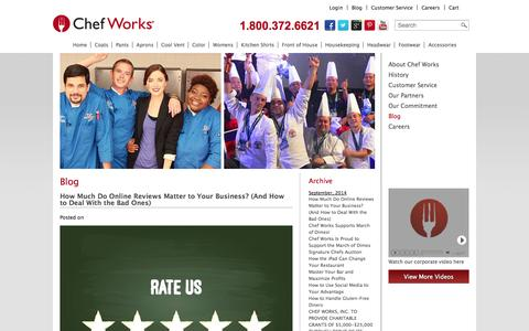 Screenshot of Blog chefworks.com - Chef Works | Chef Clothing and Uniforms for Restaurants and Hotels - captured Sept. 19, 2014