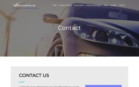 Screenshot of Contact Page excelfore.com - Contact Us :: Excelfore Corporation, located in Silicon Valley - captured Sept. 29, 2018