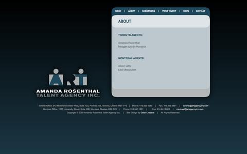 Screenshot of About Page artagencyinc.com - Amanda Rosenthal | Talent Agency Inc. - captured Oct. 1, 2014