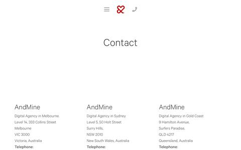 Screenshot of Contact Page andmine.com - Digital Agency Melbourne: Contact us for Digital Agency Services | Digital Agency Melbourne | &Mine - captured Aug. 8, 2019