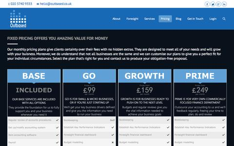 Screenshot of Pricing Page outbased.co.uk - Outbased, Collaborative Accountants   Pricing - Outbased, Collaborative Accountants - captured Oct. 9, 2014