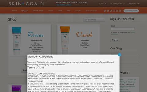 Screenshot of Products Page skinagain.com - Products - SkinAgain - captured Oct. 1, 2014