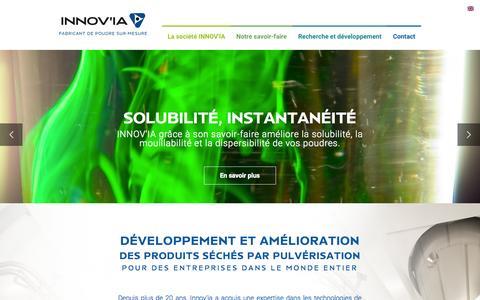 Screenshot of Home Page innov-ia.com - Innovia, fabricant de poudre sur-mesure | Innov IA - captured Aug. 2, 2015
