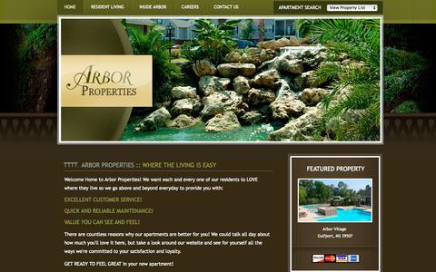 Screenshot of Home Page arborproperties.com - ARBOR PROPERTIES :: Welcome - captured Sept. 23, 2014