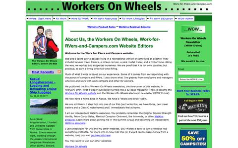 Screenshot of About Page work-for-rvers-and-campers.com - About Us, the Work For RVers and Campers Website Editors - captured Nov. 26, 2016