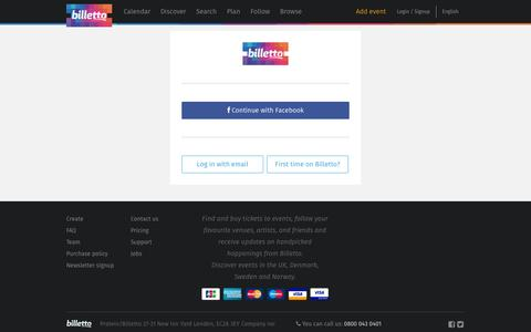Screenshot of Login Page billetto.co.uk - Find and buy tickets for niche and underground events - Billetto.co.uk - captured Sept. 13, 2014