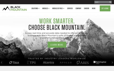 Screenshot of Home Page blackmountainsystems.com - Black Mountain  Black Mountain develops innovative software solutions for asset managers in the areas of data aggregation, workflow management and business intelligence. - captured June 15, 2018