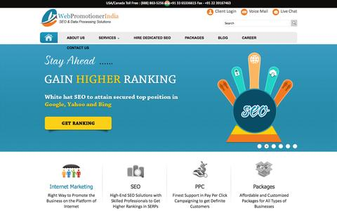 Screenshot of Home Page webpromotionerindia.com - Best SEO Company India | Internet Marketing Company - WebPromotionerIndia - captured Sept. 22, 2014