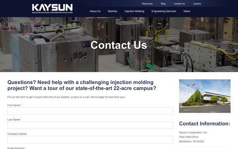 Screenshot of Contact Page kaysun.com - Contact Us - captured Dec. 20, 2018