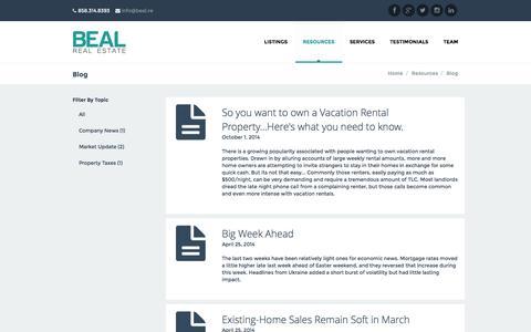 Screenshot of Blog bealre.com - Blog | Beal Real Estate - captured Nov. 3, 2014