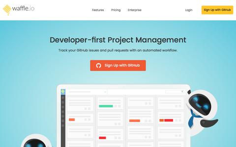 Screenshot of Home Page waffle.io - Developer-first Project Management for Teams on GitHub | Waffle.io - captured Jan. 24, 2018