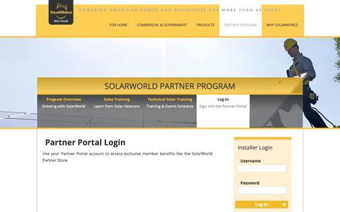 Screenshot of Login Page solarworld-usa.com - Installer Program - captured Oct. 19, 2018