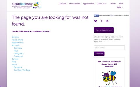Screenshot of Press Page cleanbeebaby.com - File not found - CleanBeeBaby - captured Sept. 13, 2014