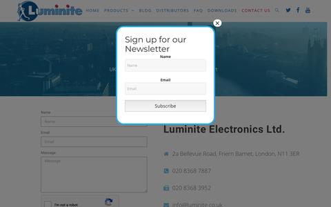 Screenshot of Contact Page luminite.co.uk - Luminite - Contact Us - captured Dec. 16, 2018
