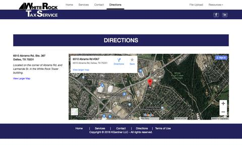 Screenshot of Maps & Directions Page whiterocktaxservice.com - Directions to White Rock Tax Service - captured Sept. 21, 2018