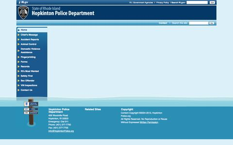 Screenshot of Menu Page hopkintonpolice.org - Hopkinton Police Department: - captured Sept. 30, 2014