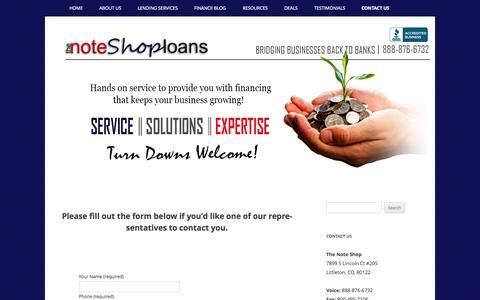Screenshot of Contact Page tnsloans.com - Contact Us - TNS LOANS Hard Money Lenders Colorado - captured Oct. 26, 2014