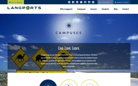 Screenshot of Locations Page langports.com - Campus Locations | Langports - captured July 16, 2018