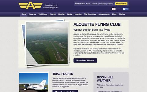 Screenshot of Home Page alouette.org.uk - Alouette Flying Club - Based at Biggin Hill - We put the fun back into flying - captured Feb. 5, 2016