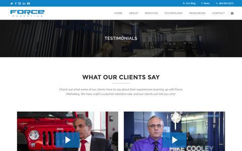 Screenshot of Testimonials Page forcemktg.com - Force Marketing   Dealership Testimonials and Reviews - captured Feb. 1, 2016