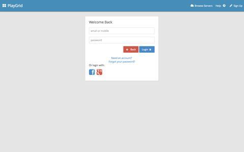 Screenshot of Login Page playgrid.com - PlayGrid | Login - captured Sept. 30, 2014