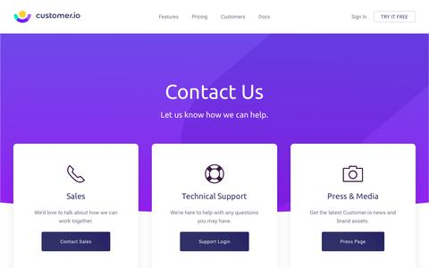 Screenshot of Contact Page customer.io - Contact - Customer.io - captured Feb. 11, 2019
