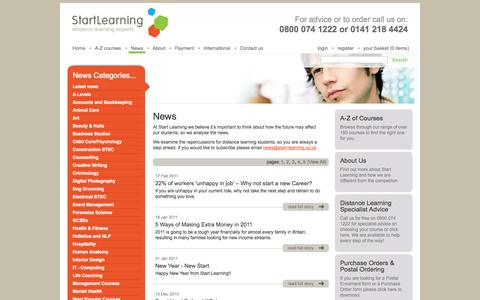 Screenshot of Press Page start-learning.co.uk - News from Start Learning - captured Sept. 26, 2014