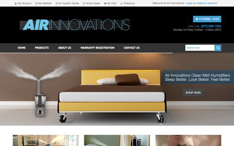 Screenshot of Home Page air-innovations.tv - Air Innovations Shop Humidifier, Purifier & Fans - captured Sept. 17, 2015