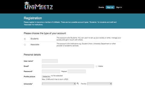 Screenshot of Signup Page unimeetz.com - Registration - UniMeetz - captured Oct. 6, 2014