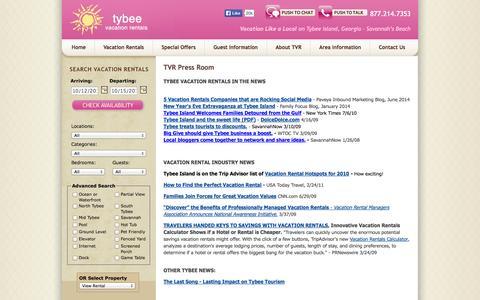 Screenshot of Press Page tybeevacationrentals.com - Press Room / Media Information I Tybee Vacation Rentals - captured Oct. 9, 2014