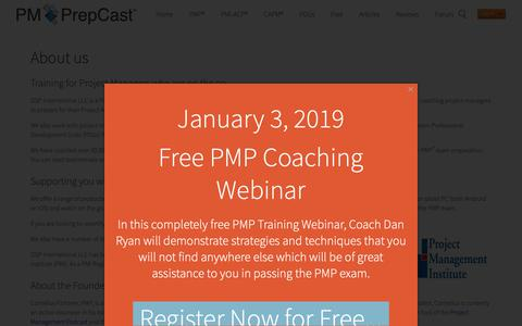 Screenshot of About Page project-management-prepcast.com - About us - captured Jan. 3, 2019