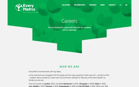 Screenshot of Jobs Page everymatrix.com - Careers - EveryMatrix - captured June 29, 2017
