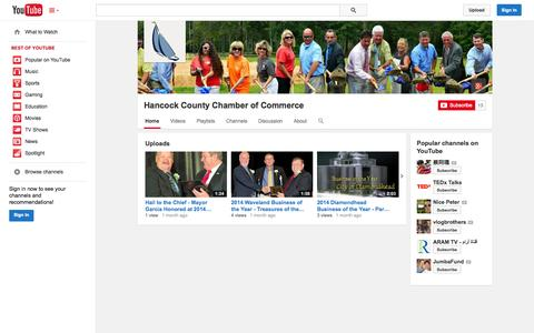 Screenshot of YouTube Page youtube.com - Hancock County Chamber of Commerce  - YouTube - captured Oct. 22, 2014