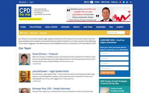 Screenshot of Team Page cpdforme.com.au - Our Team - CPD for Me - captured Sept. 26, 2014