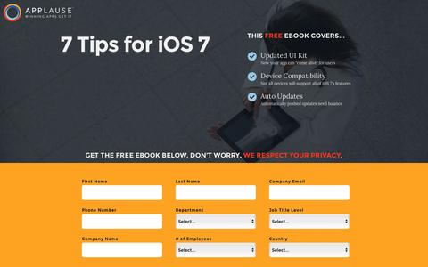 Screenshot of Landing Page applause.com - 7 Tips for iOS 7 - Applause: 360° App Quality - captured March 15, 2016