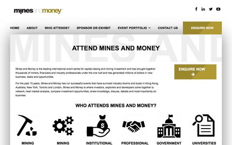 Screenshot of About Page minesandmoney.com - Attend a Mines and Money Event | Mines and Money - captured Nov. 12, 2017