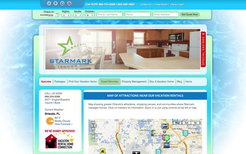 Screenshot of Maps & Directions Page starmarkvacationhomes.com - Map of Attractions Near Our Vacation Rentals - captured Sept. 30, 2014