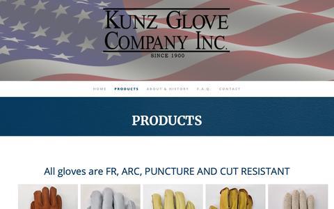Screenshot of Products Page kunzglove.com - Work Gloves, Glove Liners | Kunz - captured Oct. 16, 2018