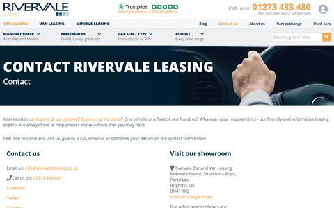 Screenshot of Contact Page rivervaleleasing.co.uk - Contact Us | Rivervale Leasing - captured Jan. 21, 2019