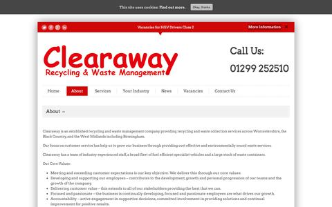 Screenshot of About Page clearaway.uk.com - About - Clearaway - captured Sept. 27, 2018