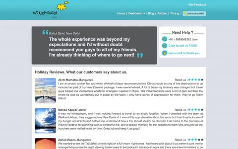 Screenshot of Testimonials Page weareholidays.co.in - Customer Testimonials, Tourist Places Reviews, Holiday Reviews - WeAreHolidays - captured Oct. 10, 2014